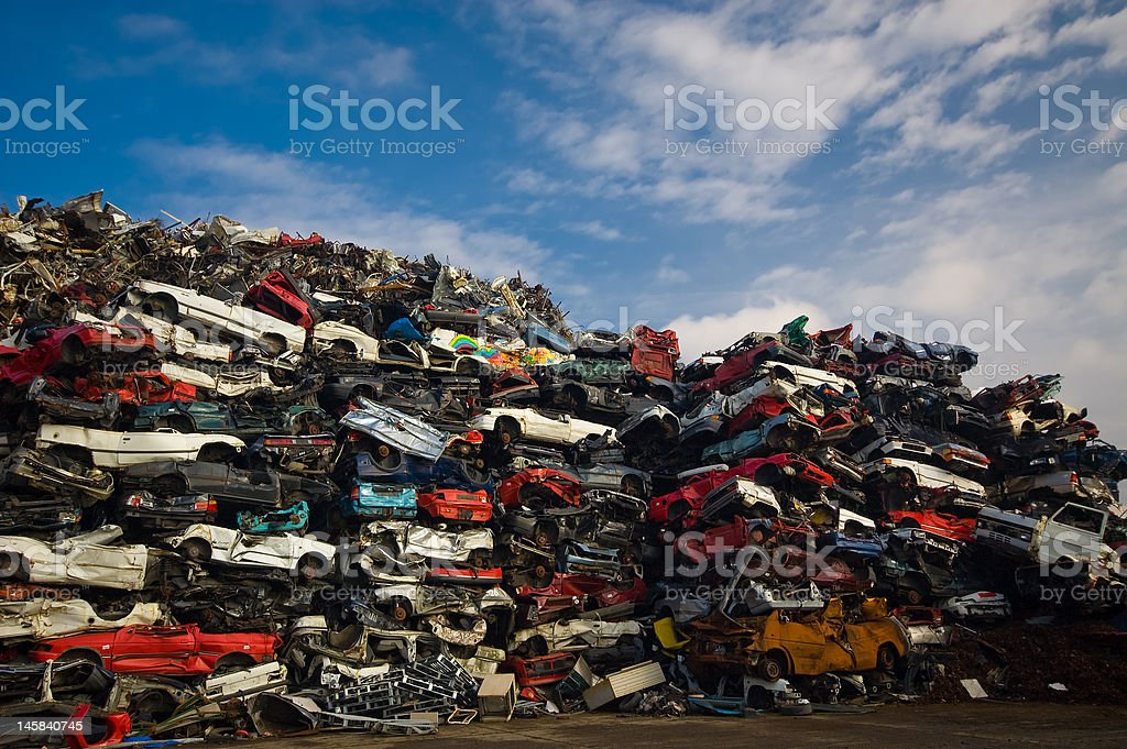 pile of used cars royalty-free stock photo
