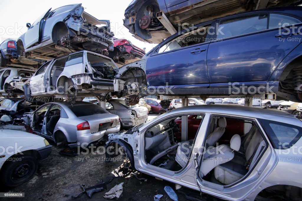 Pile Of Used Old Cars At A Scrapheap Junkyard Stock Photo & More ...
