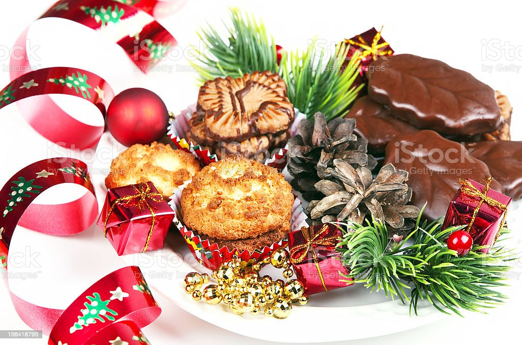 pile of various  cookies and christmas decorations royalty-free stock photo