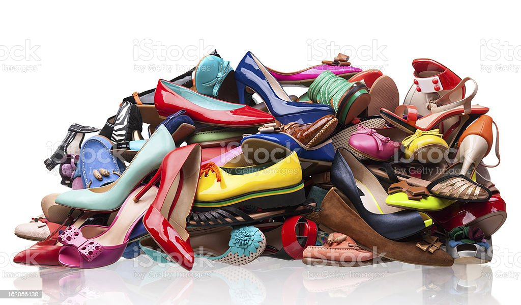 Pile of various female shoes stock photo