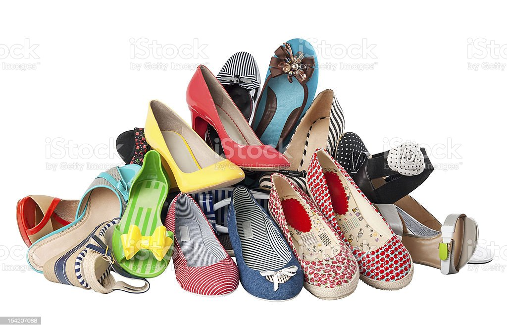 Pile of various female summer shoes, with clipping path royalty-free stock photo