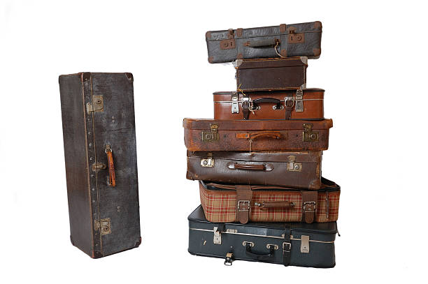 Pile of vintage luggage stock photo