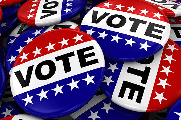 Pile of Vote Badges - US Elections Concept Image stock photo
