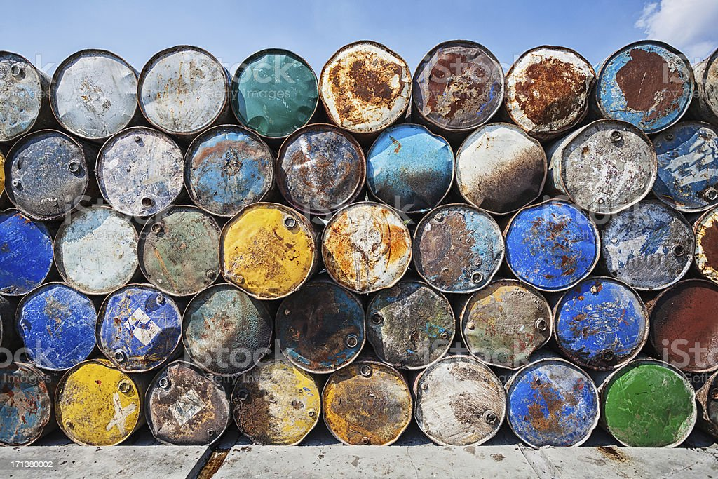 Pile of Weathered Oil Drums stock photo