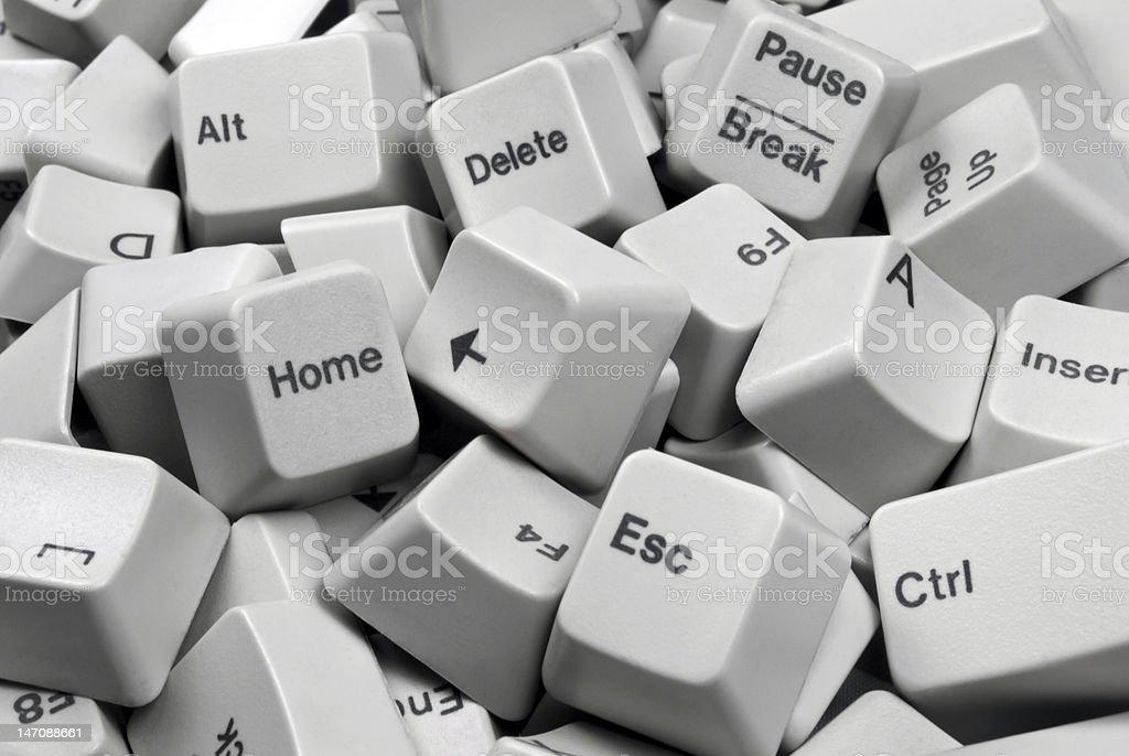 Pile of White Computer Keyboard keys stock photo