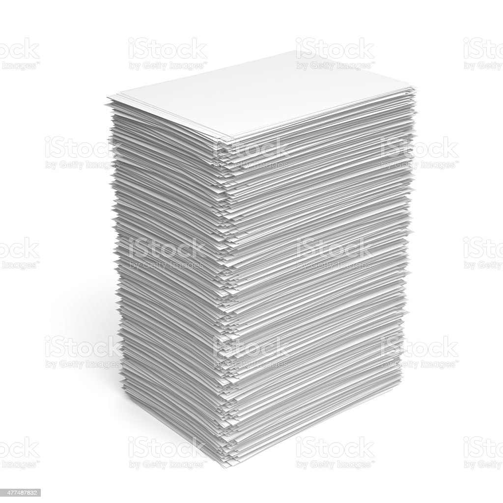 Pile of white paper sheets stock photo