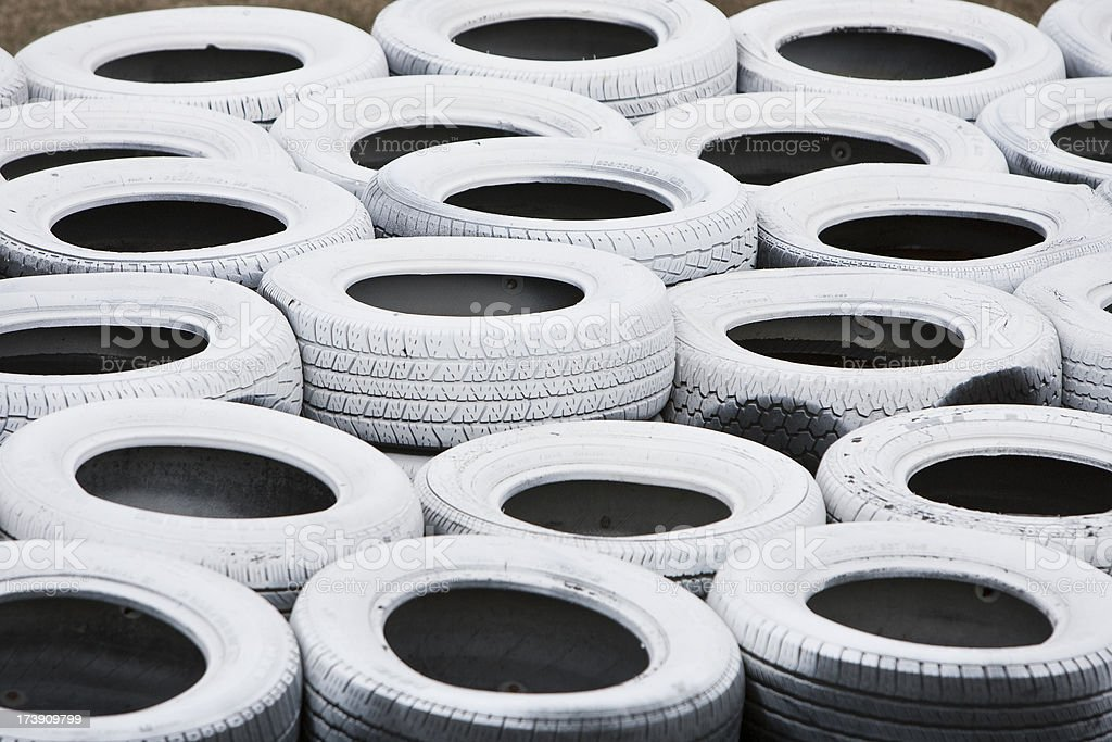 Pile of white recycled tires royalty-free stock photo