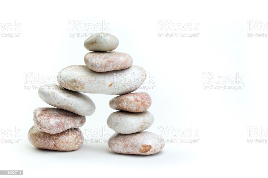 Pile Of White Stones Isolated On White Background Stock