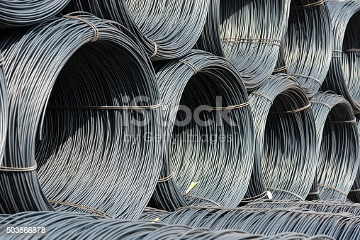 istock Pile of wire rod or coil for industrial usage 503866878