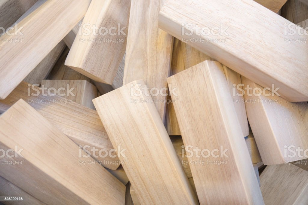 pile of wood blocks stock photo