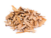 Pile of wood chips isolated on white background