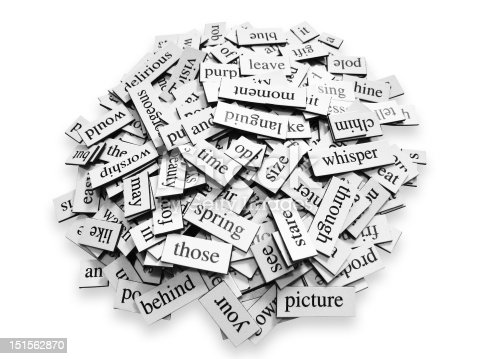 Pile of random words on a white background.