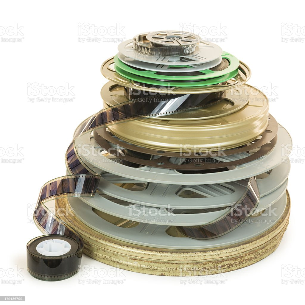 Pile Several Types of Movie Film Reels stock photo