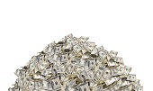 istock Pile with American one hundred dollar bills isolated on white background 1160846955