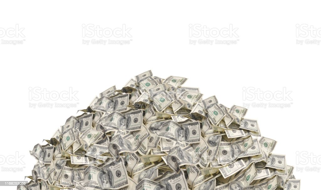 Pile with American one hundred dollar bills isolated on white background - Стоковые фото Банк роялти-фри
