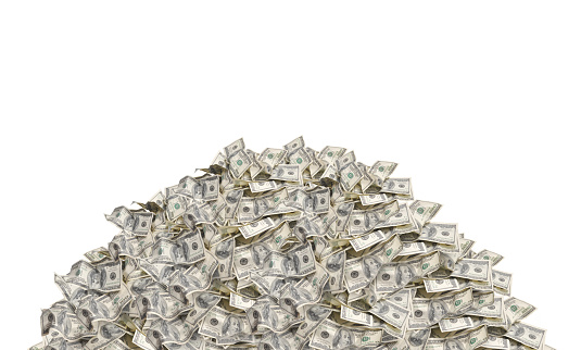 Pile with american hundred dollar bills isolated on white background