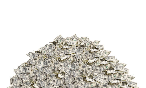 pile with dollar bills - coin stock photos and pictures