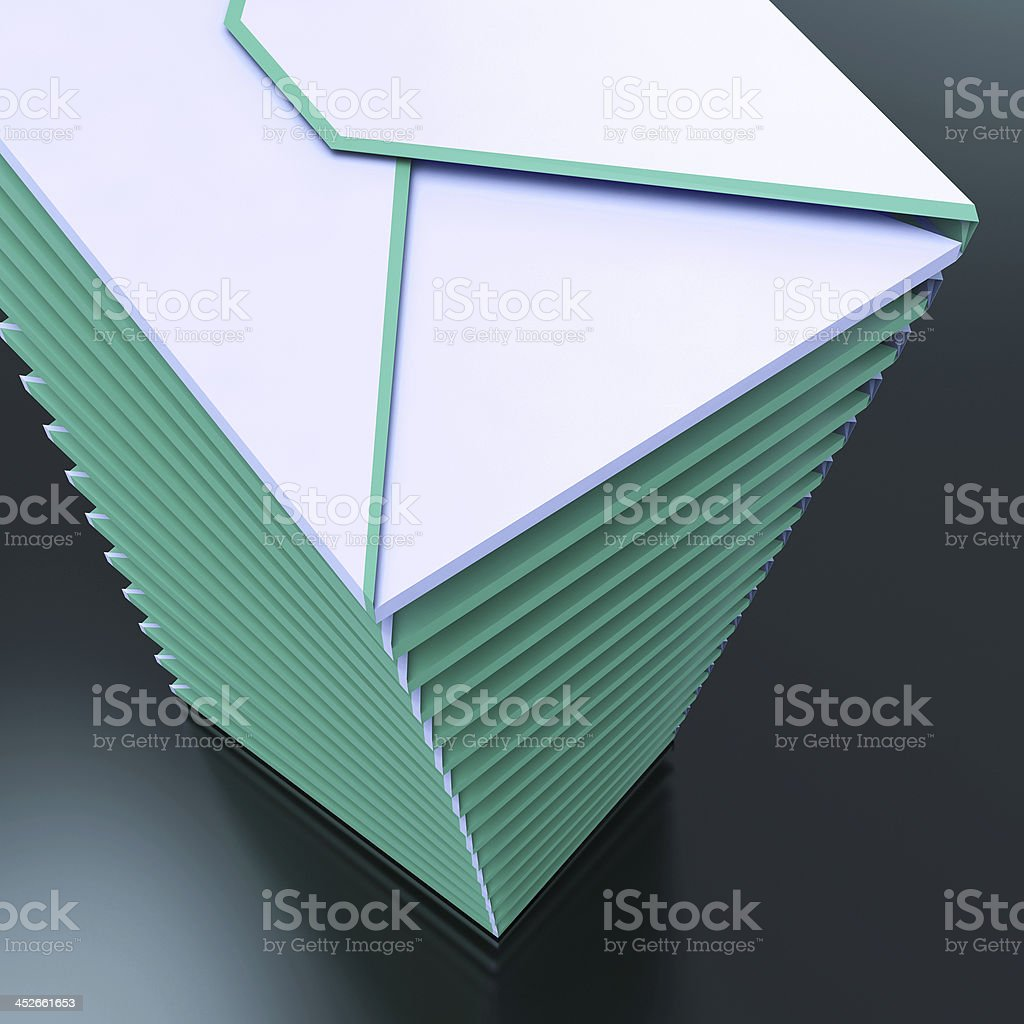 Piled Envelopes Shows Computer Mail Outbox Communication royalty-free stock photo