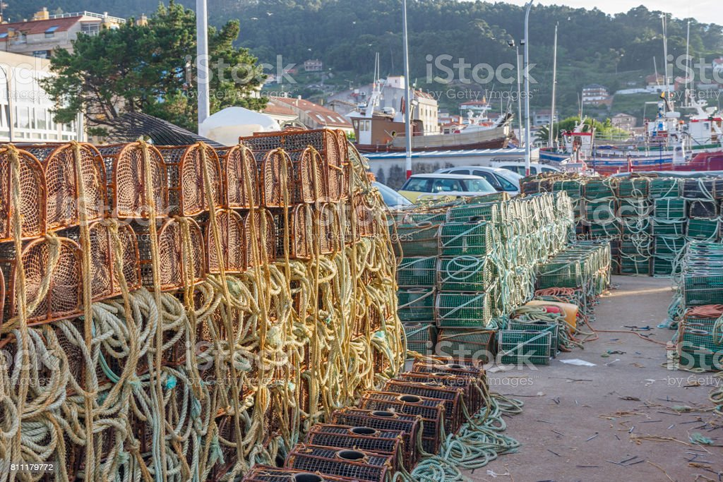 Piled fishing pots on the dock royalty-free stock photo