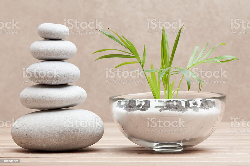 piled pebble stones and plant royalty-free stock photo