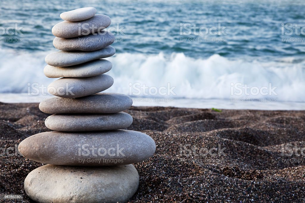 Piled Stoness on the Beach royalty-free stock photo