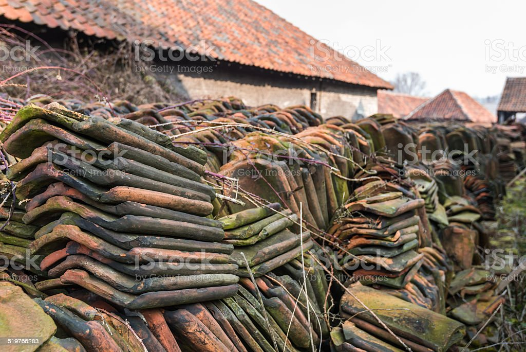 Piled tiles overgrown with brambles stock photo