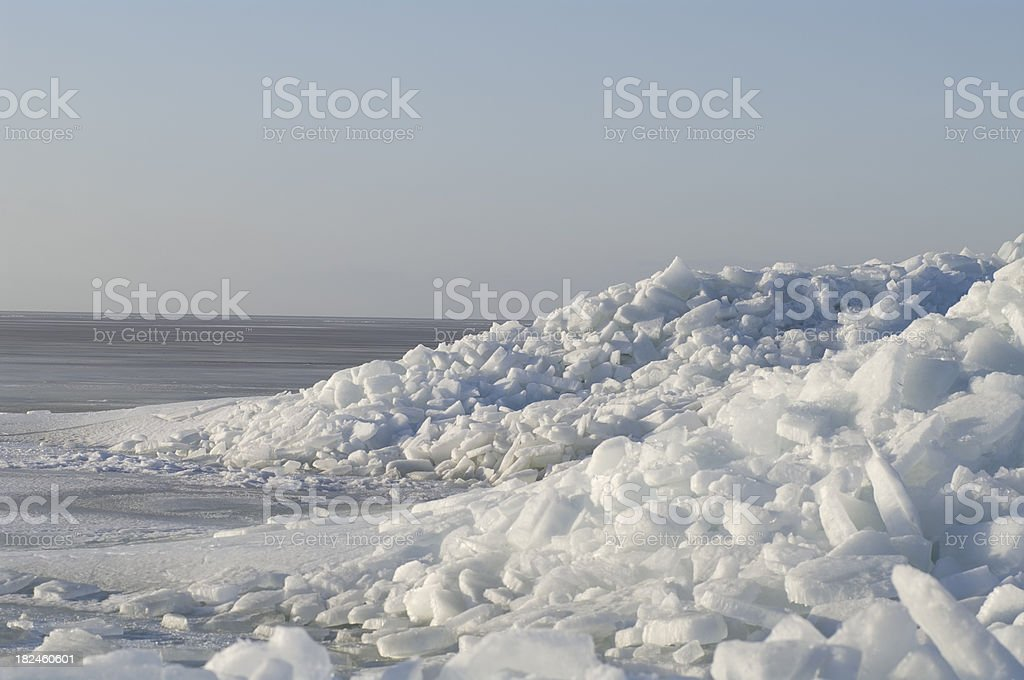 Piled up of Ice Floe Heap against Blue Sky royalty-free stock photo