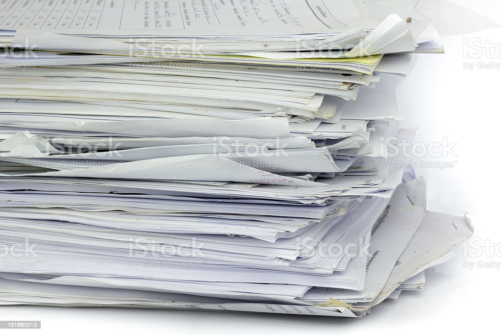Piled up office work papers royalty-free stock photo