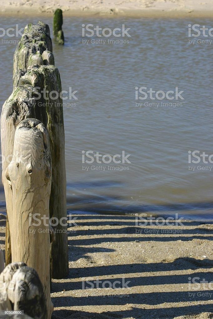 Piles at the beach royalty-free stock photo