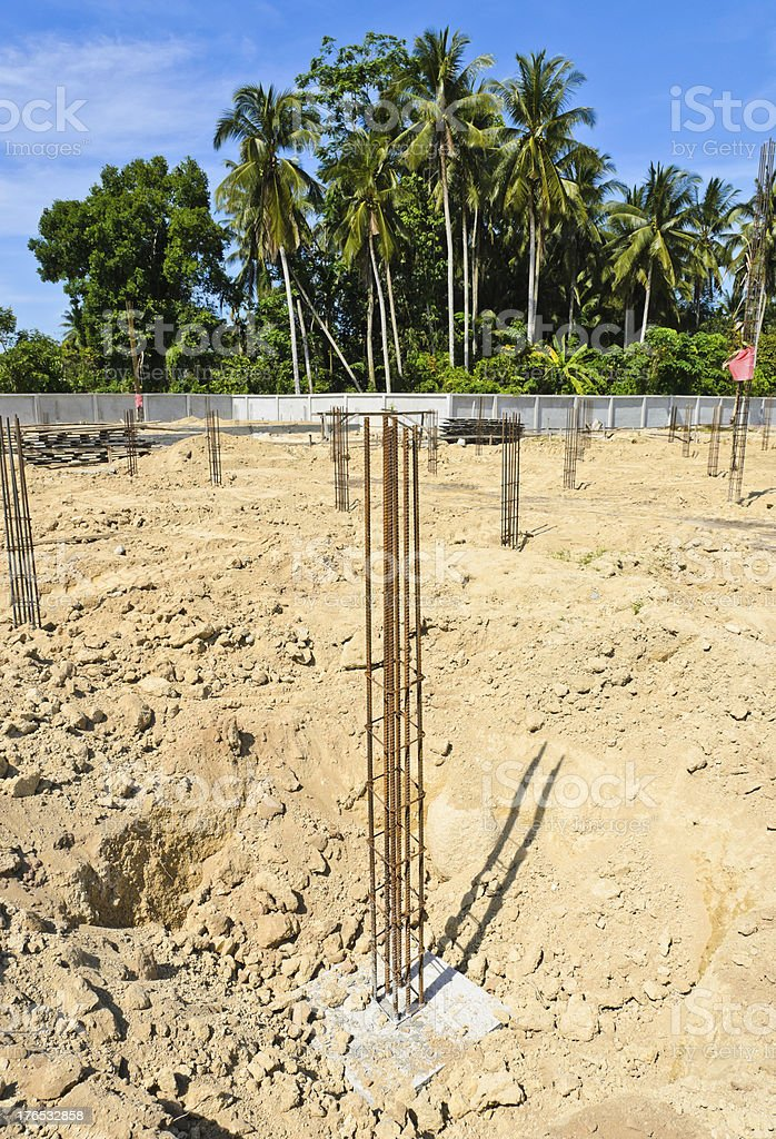 Piles in construction royalty-free stock photo