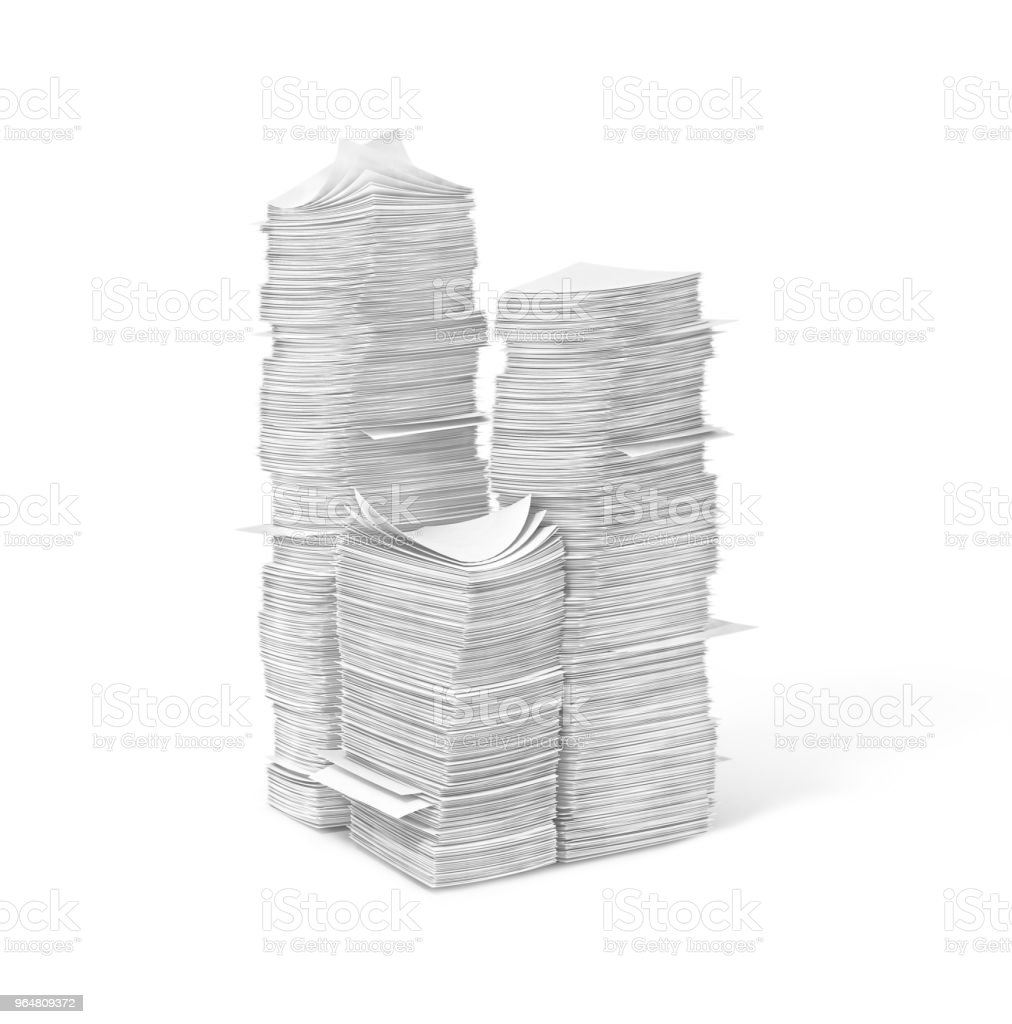 piles of blank pages.3d  illustration royalty-free stock photo