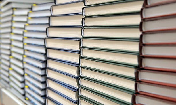 piles of books stock photo