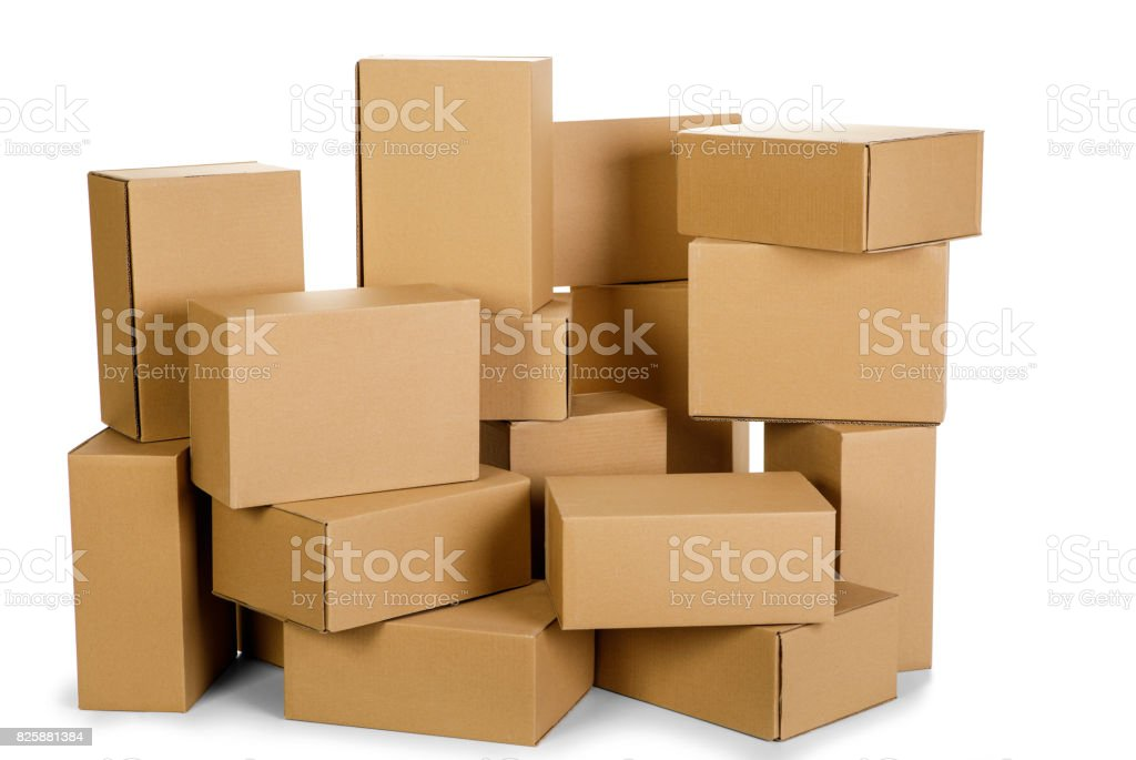 piles of cardboard boxes on a white background royalty-free stock photo