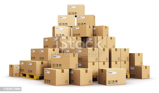 Creative abstract cargo, delivery and transportation logistics storage warehouse industry business concept: 3D render illustration of the group or pile of stacked corrugated cardboard boxes on wooden shipping pallets isolated on white background