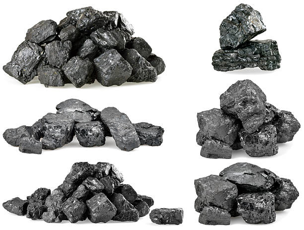 piles of coal isolated on white. set. - bumpy stock pictures, royalty-free photos & images