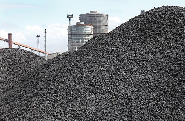 piles of coking coal stock photo