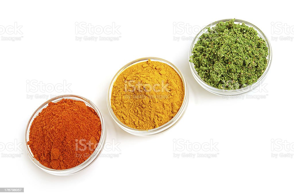 Piles of color spices royalty-free stock photo
