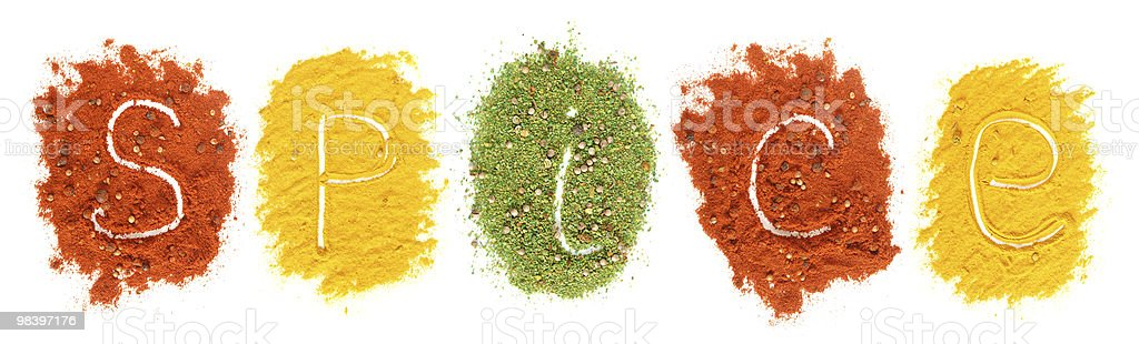 Piles of colored spices royalty-free stock photo