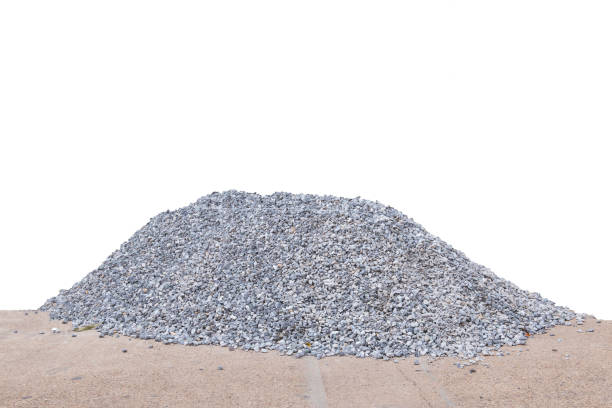 Piles of crushed stone isolate on white. stock photo