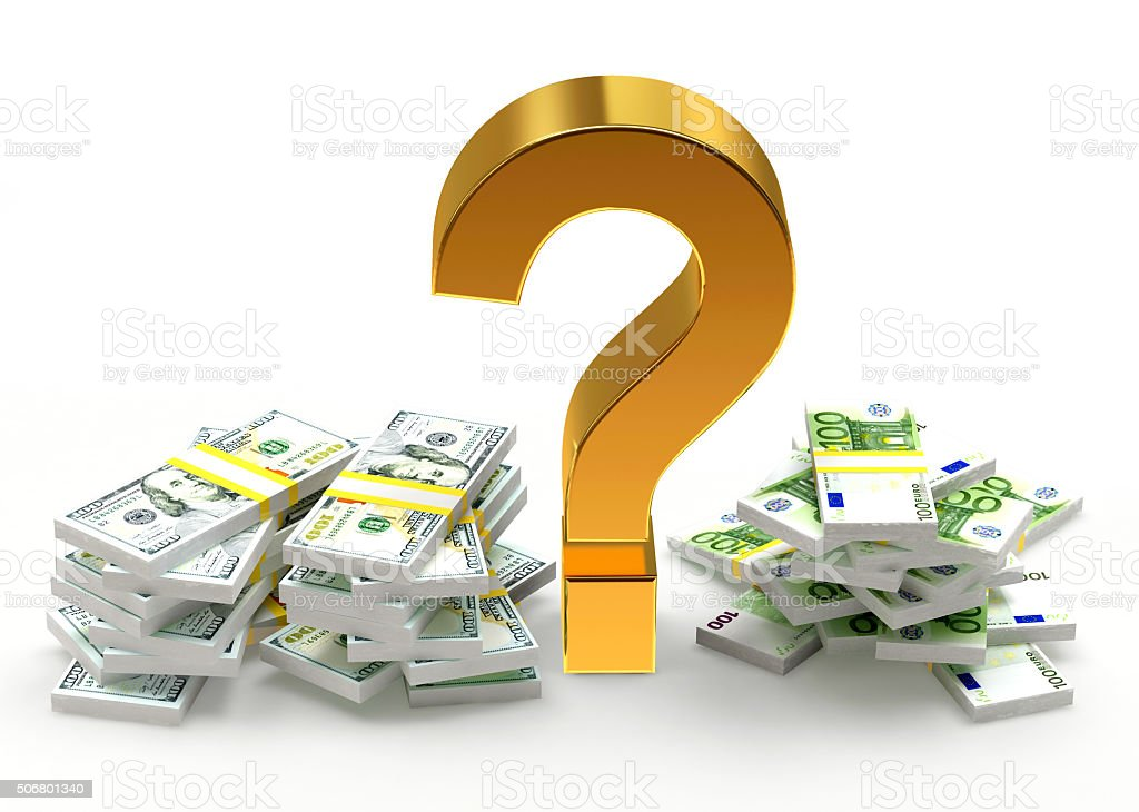 Piles Of Dollar And Euro Bills With Question Mark Stock Photo More