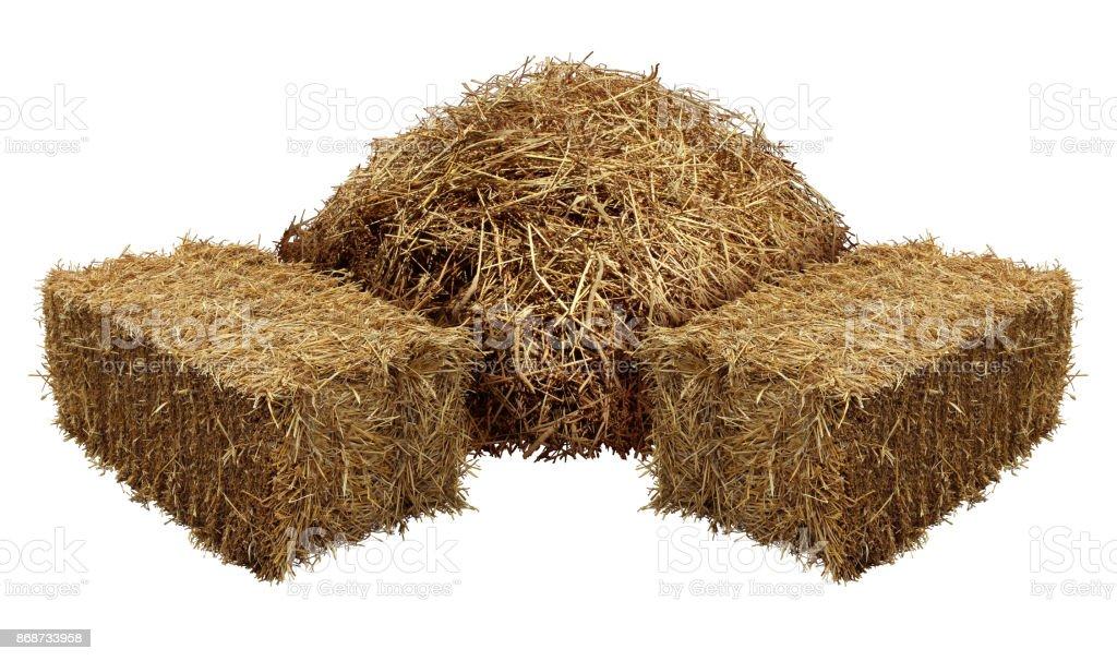 Piles Of Hay stock photo