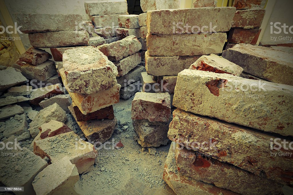 Piles of old bricks royalty-free stock photo