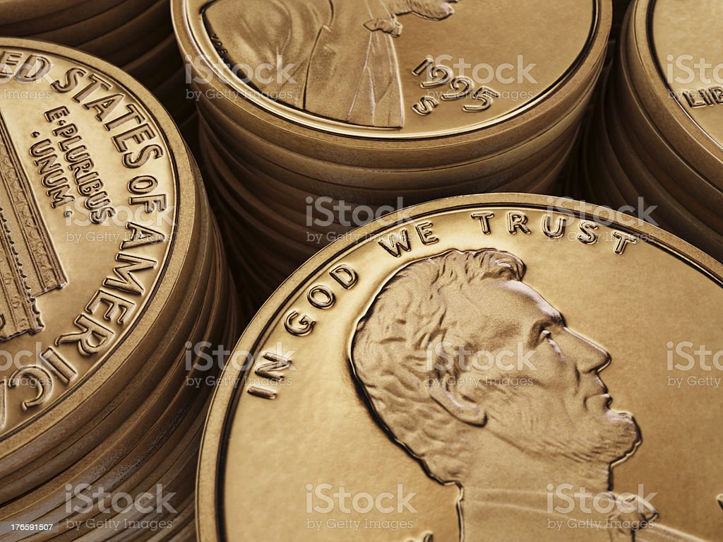 Piles of one cent royalty-free stock photo