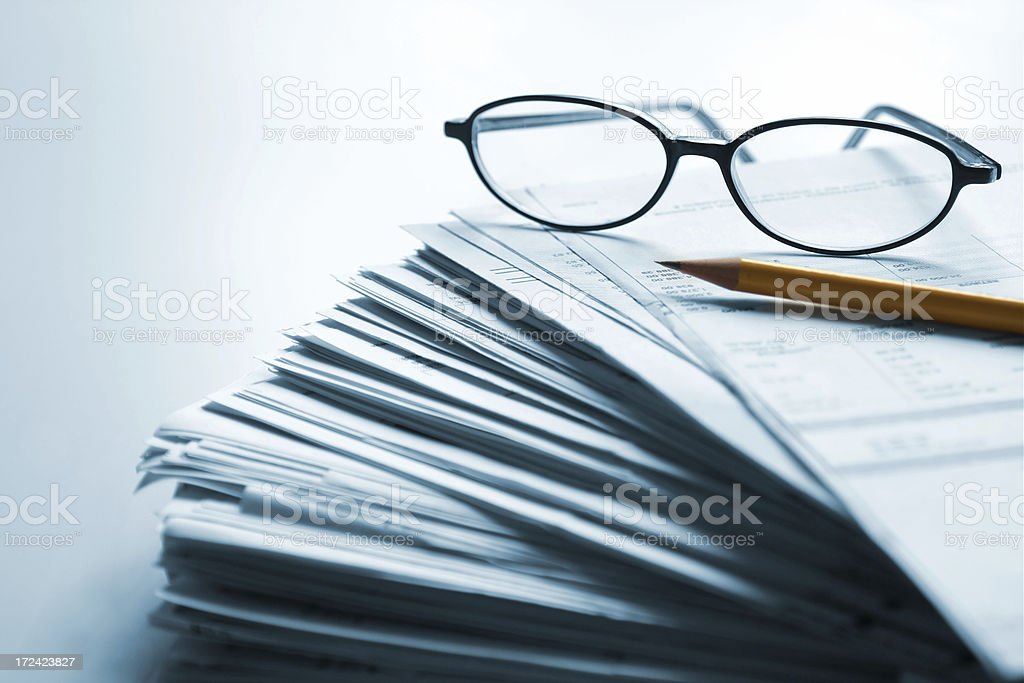 Piles of paperwork stock photo