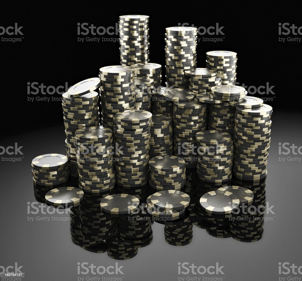 Piles of Royal Poker Chips stock photo