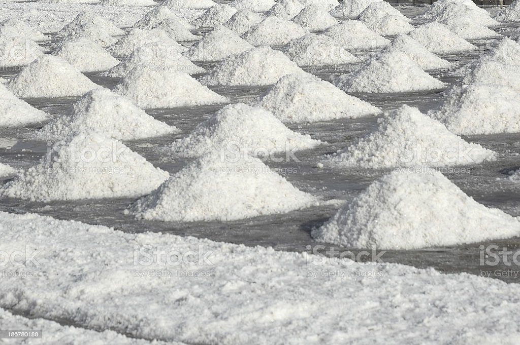 piles of salt near Trapani, Sicily stock photo