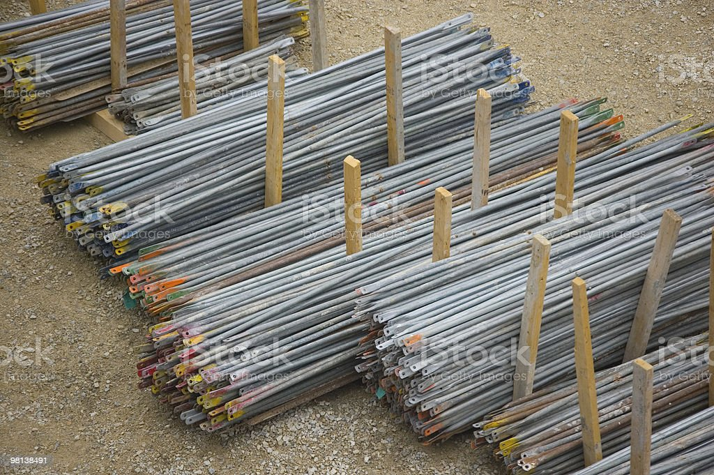 Piles of scaffolding rods royalty-free stock photo