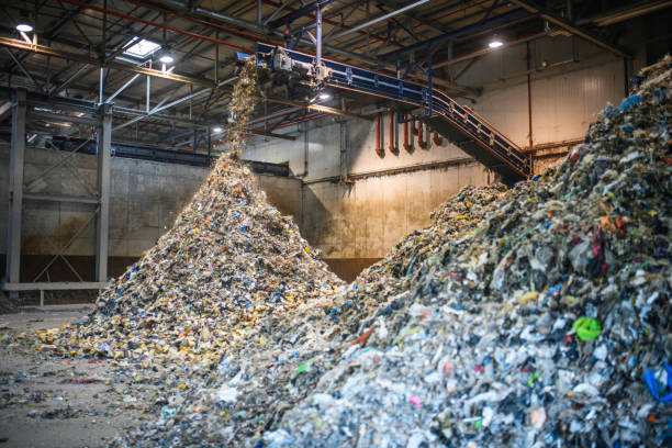 Piles of Separated Recyclables Inside Waste Facility stock photo