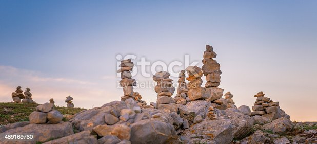 istock Piles of stone at dusk 489169760