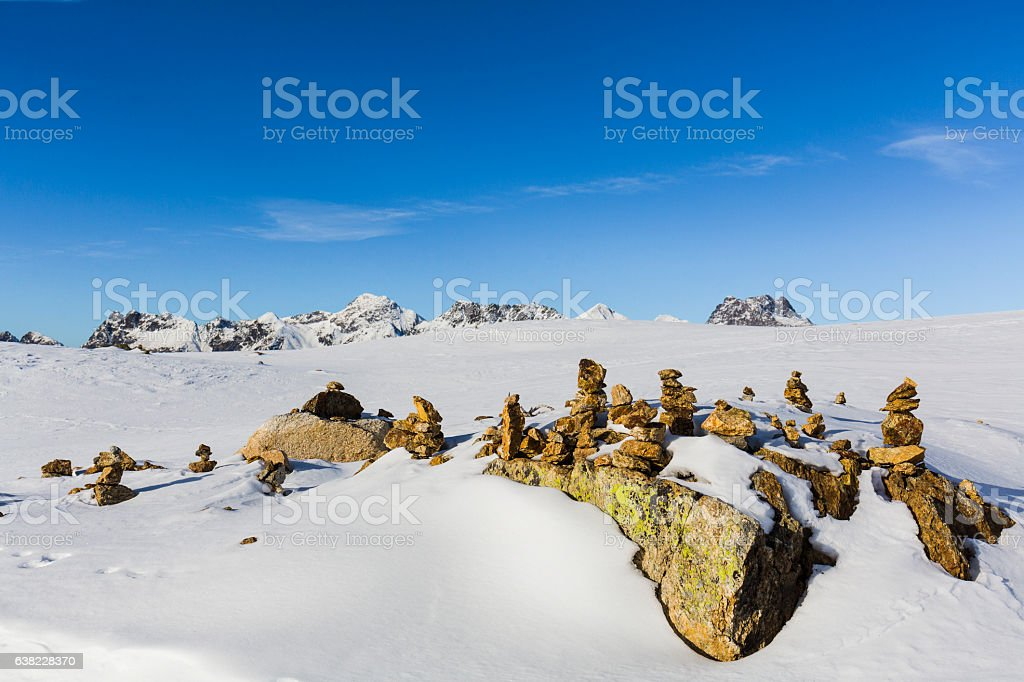 Ometto.Piles Of Stones Called Cairn Ometto In Italian Language Stock Photo